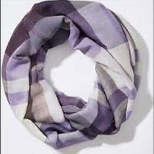 Purple & white plaid infinity scarf from LOFT